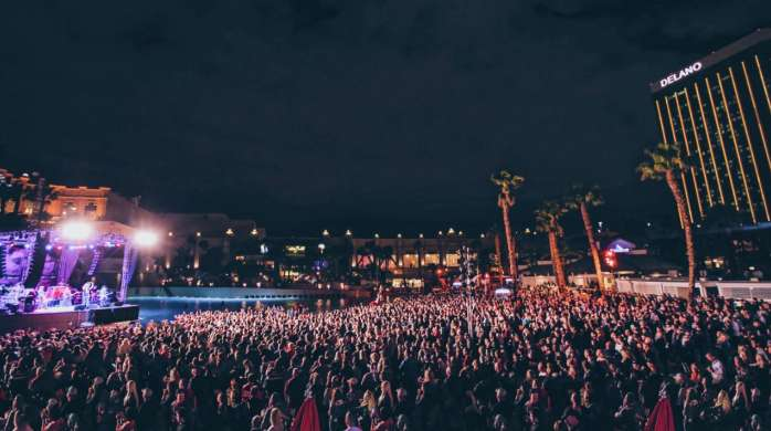 The crowd enjoying a live outdoor concert at Mandalay Bay Beach
