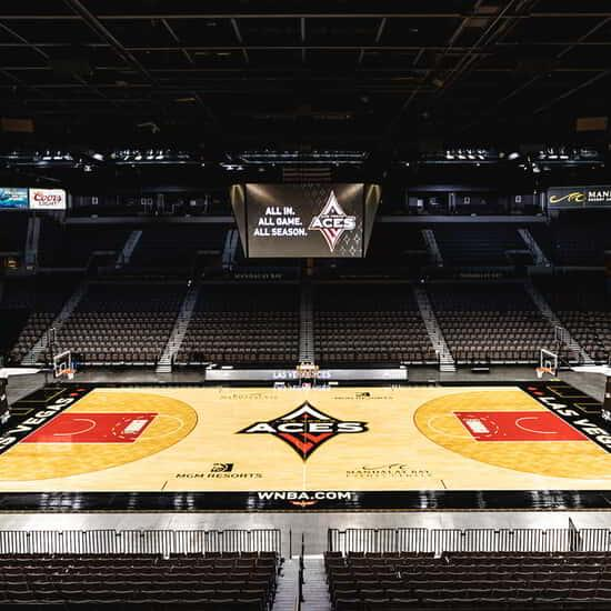 The Las Vegas Aces basketball court at Mandalay Bay Events Center.