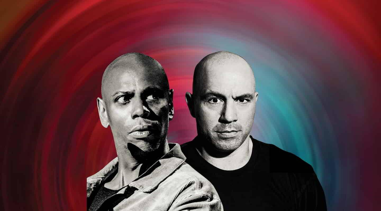 A promo image for Dave Chappelle and Joe Rogan at MGM Grand Garden Arena