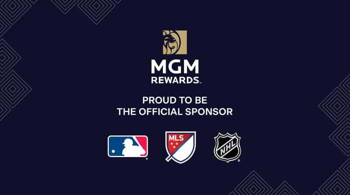 A logo lockup image for the official sports partnerships of MGM Resorts.