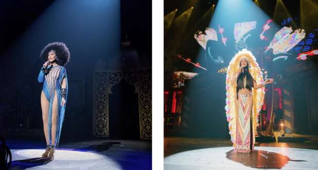 Two images of Cher performing solo at Park Theater.