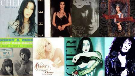A collage of Cher's top albums.