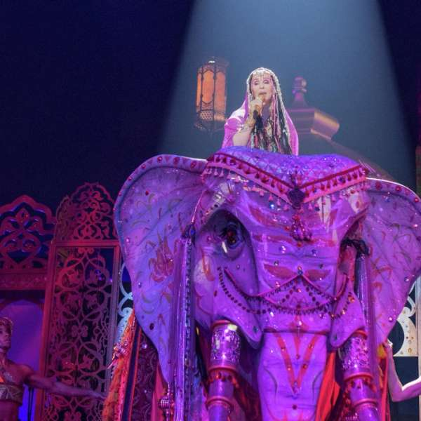 Cher performing on top of an elephant.