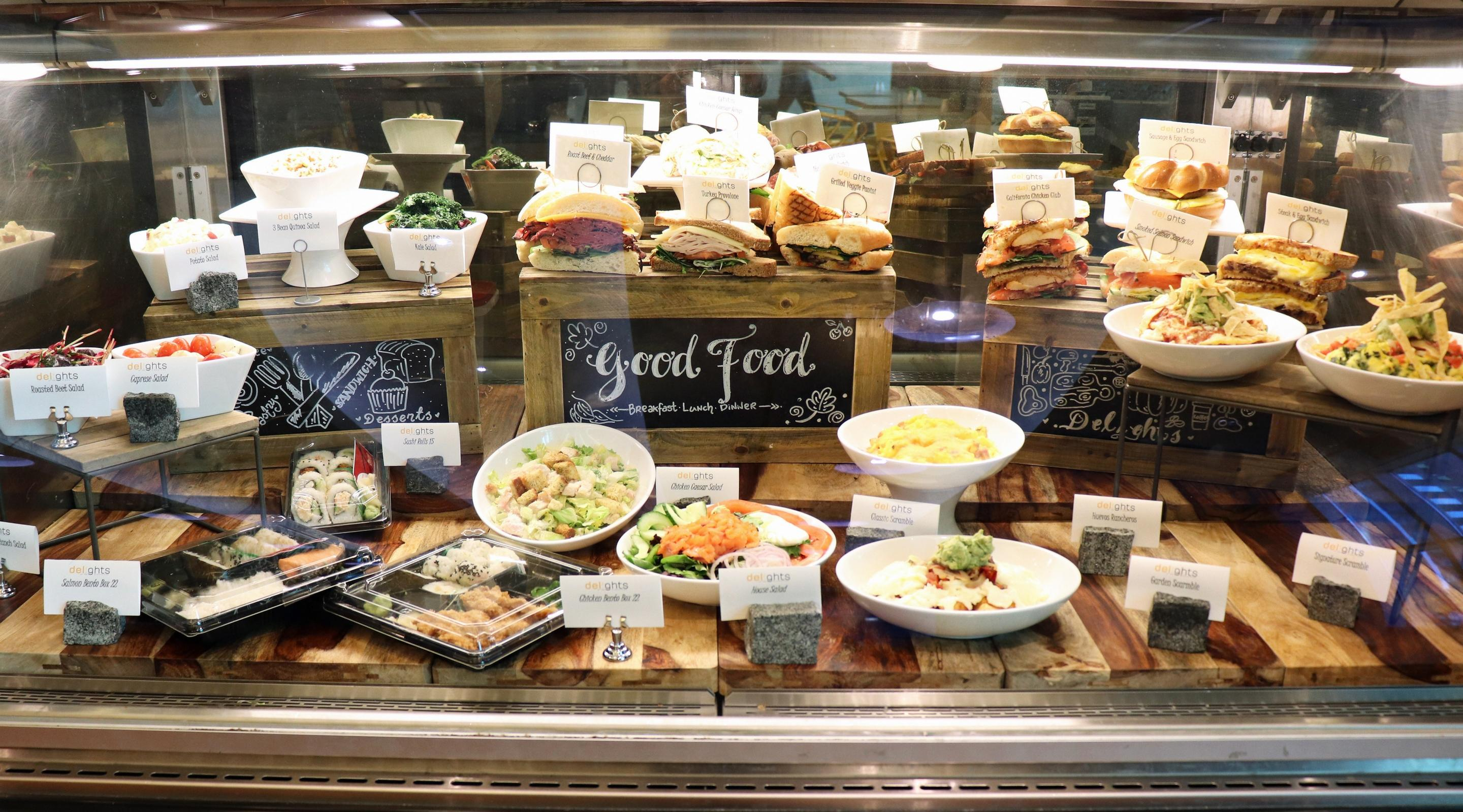 Variety of food display at Delights.