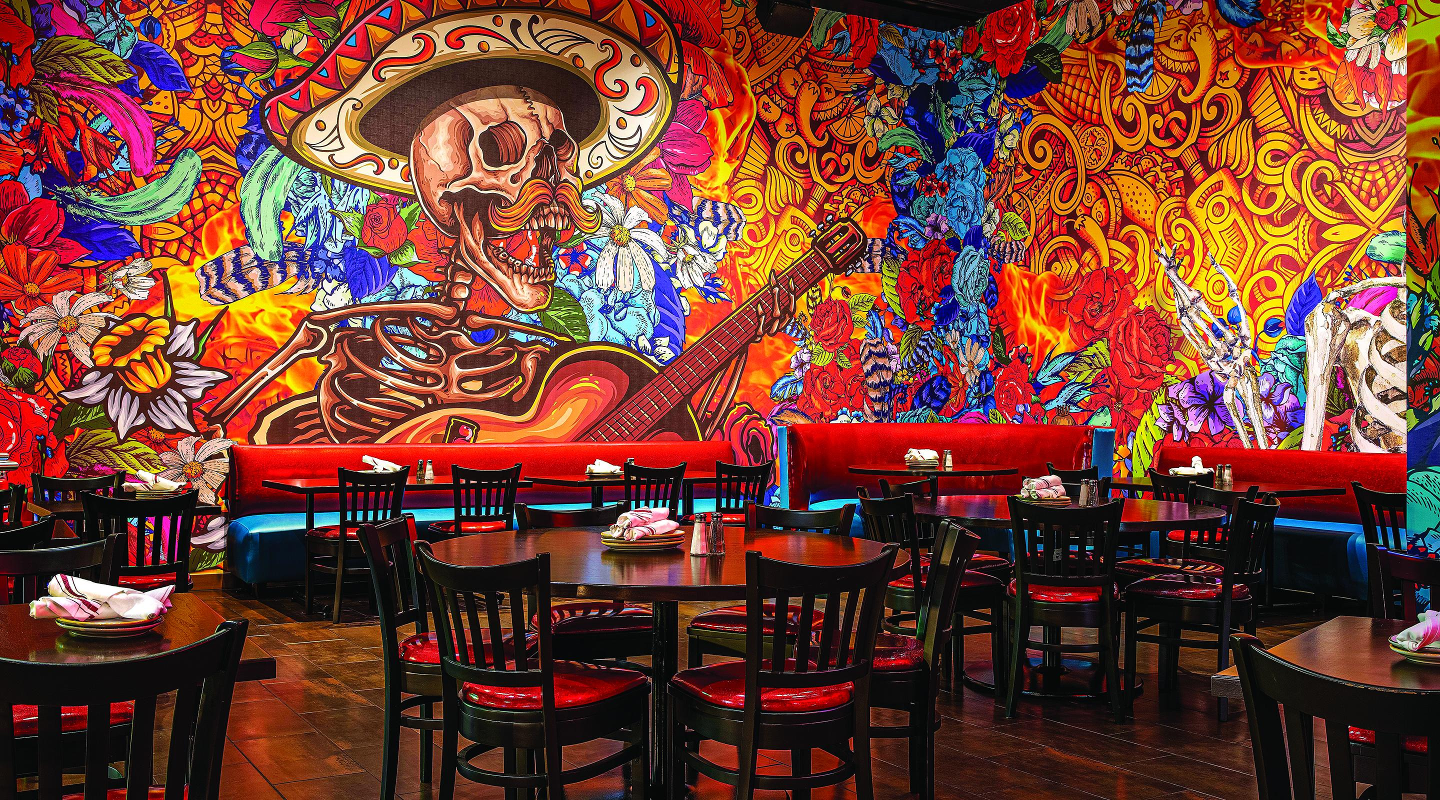 A large scale wall mural inside Diablo's Cantina.