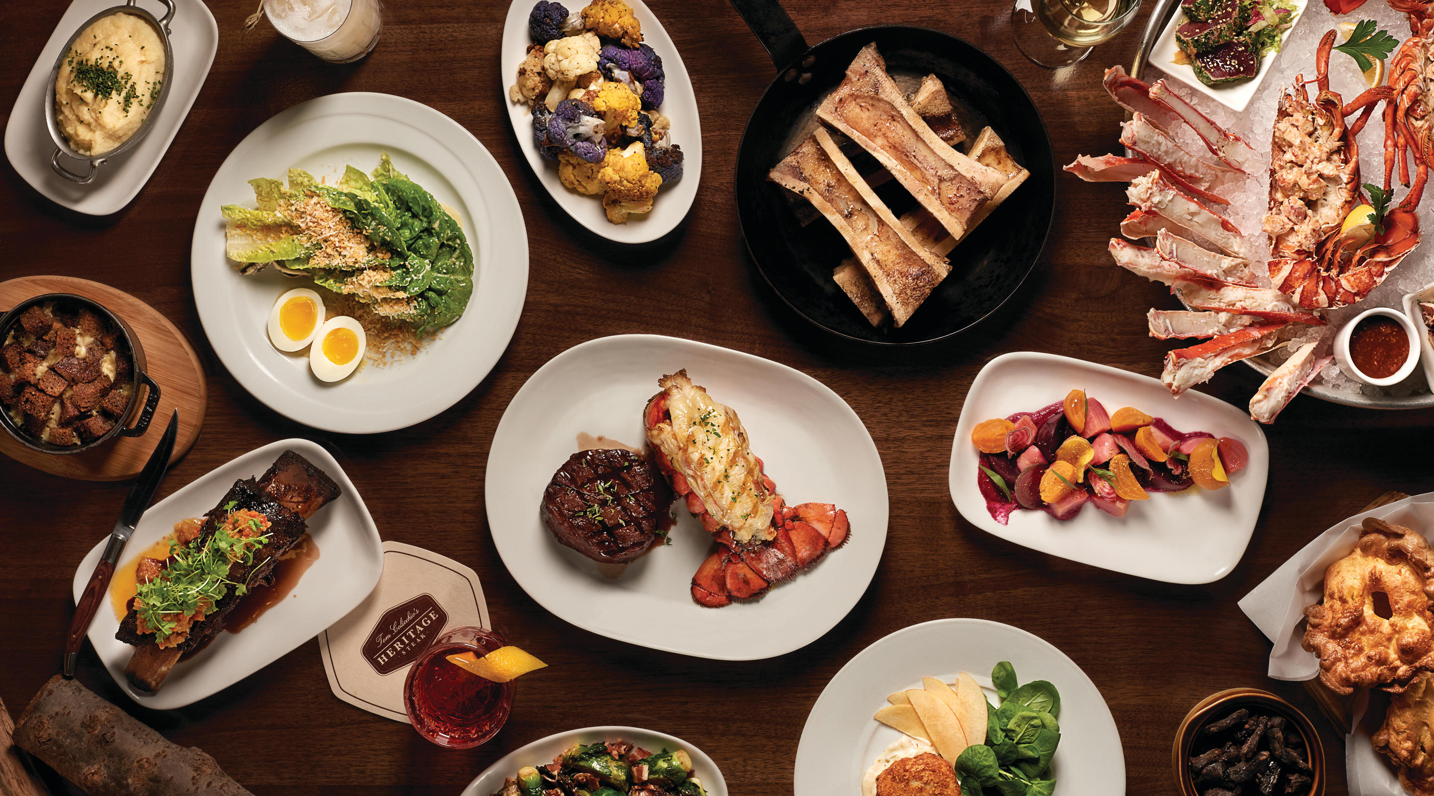 A variety of dishes at Tom Colicchio's Heritage Steak.