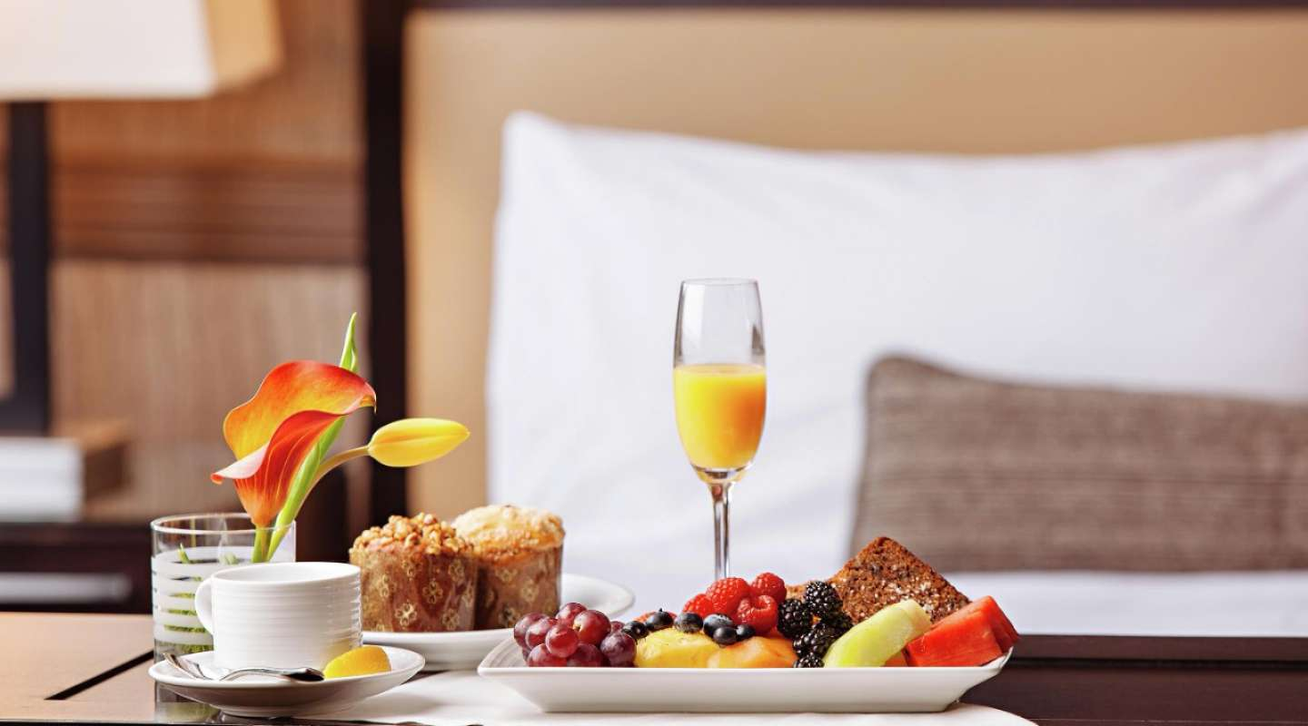Enjoy 24/7 gourmet or casual cuisine in bed with our in-room dining experience