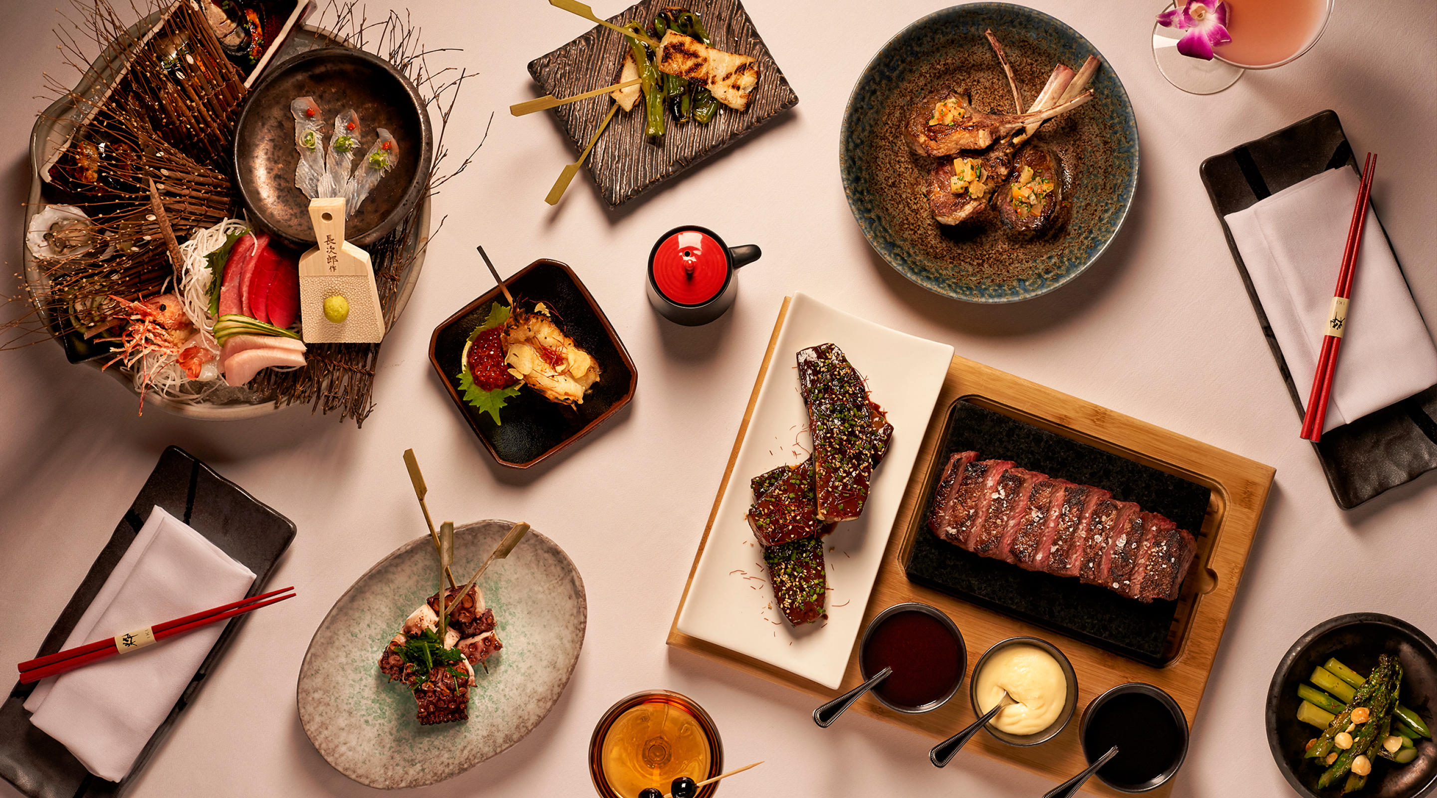 Chef's selection of dishes at OTORO.