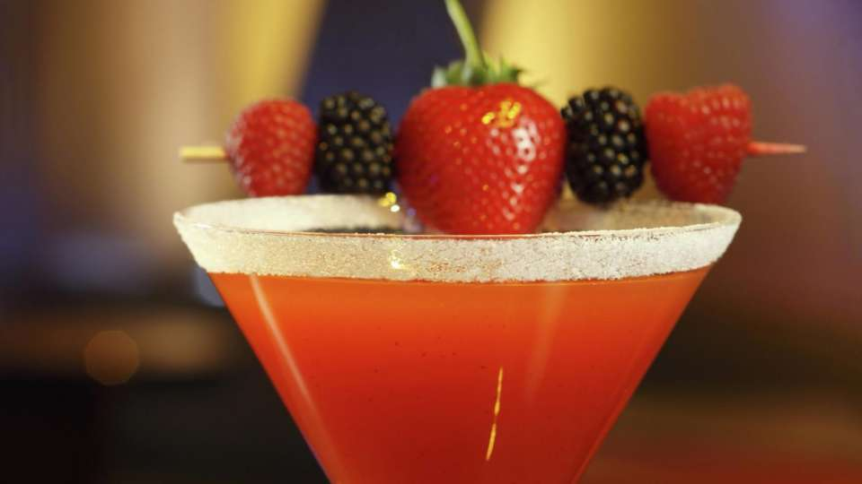 The Berrylicious cocktail, with Belvedere Wild Berry Vodka and fresh fruit.
