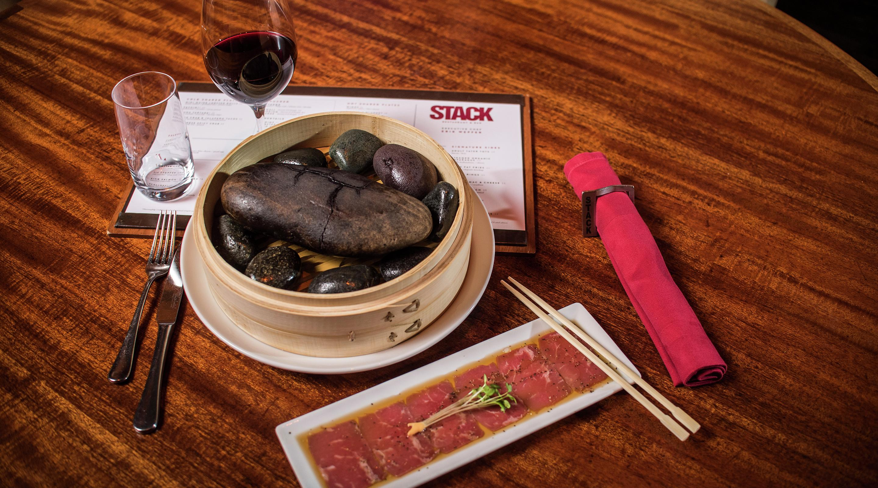 Hot Rocks is a dish where the guest can cook their own fresh sirloin to perfection.