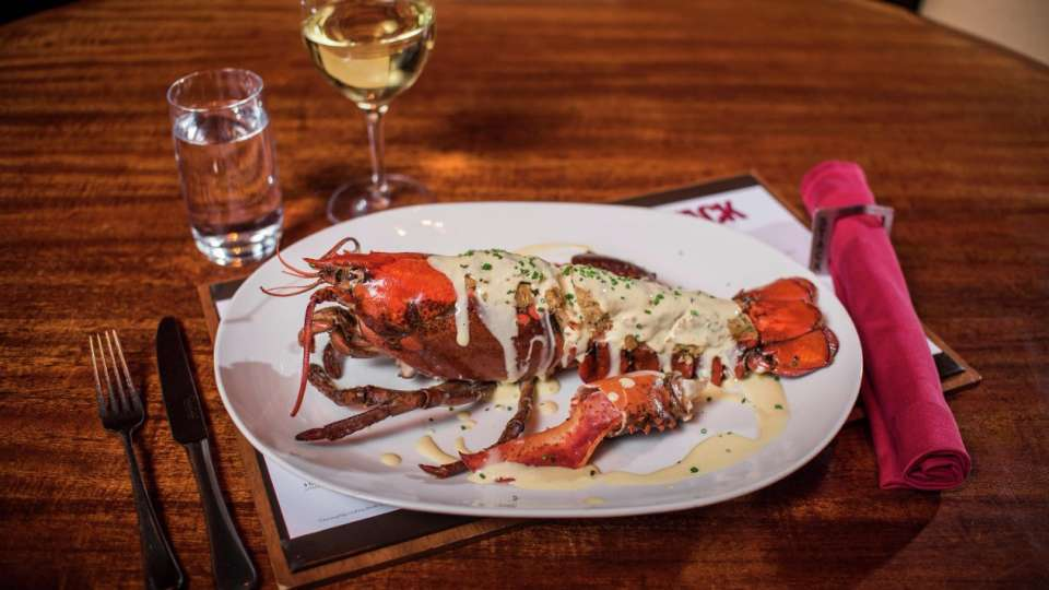 This  2 lb Maine Lobster is filled with Ritz Cracker King Crab stuffing.