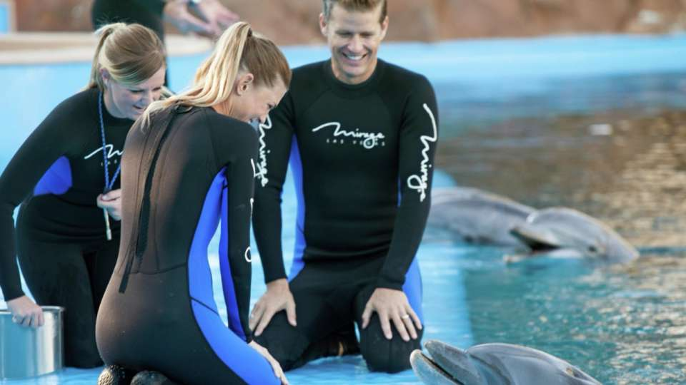 mirage-secret-garden-dolphin-habitat-trainer-couple-kneeling