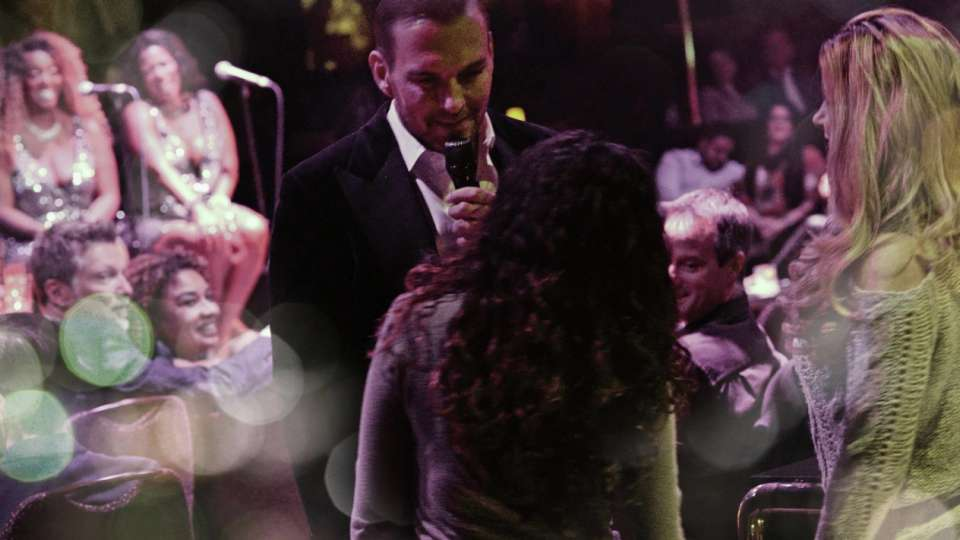 Matt Goss singing directly to two audience members at The Mirage, Las Vegas.