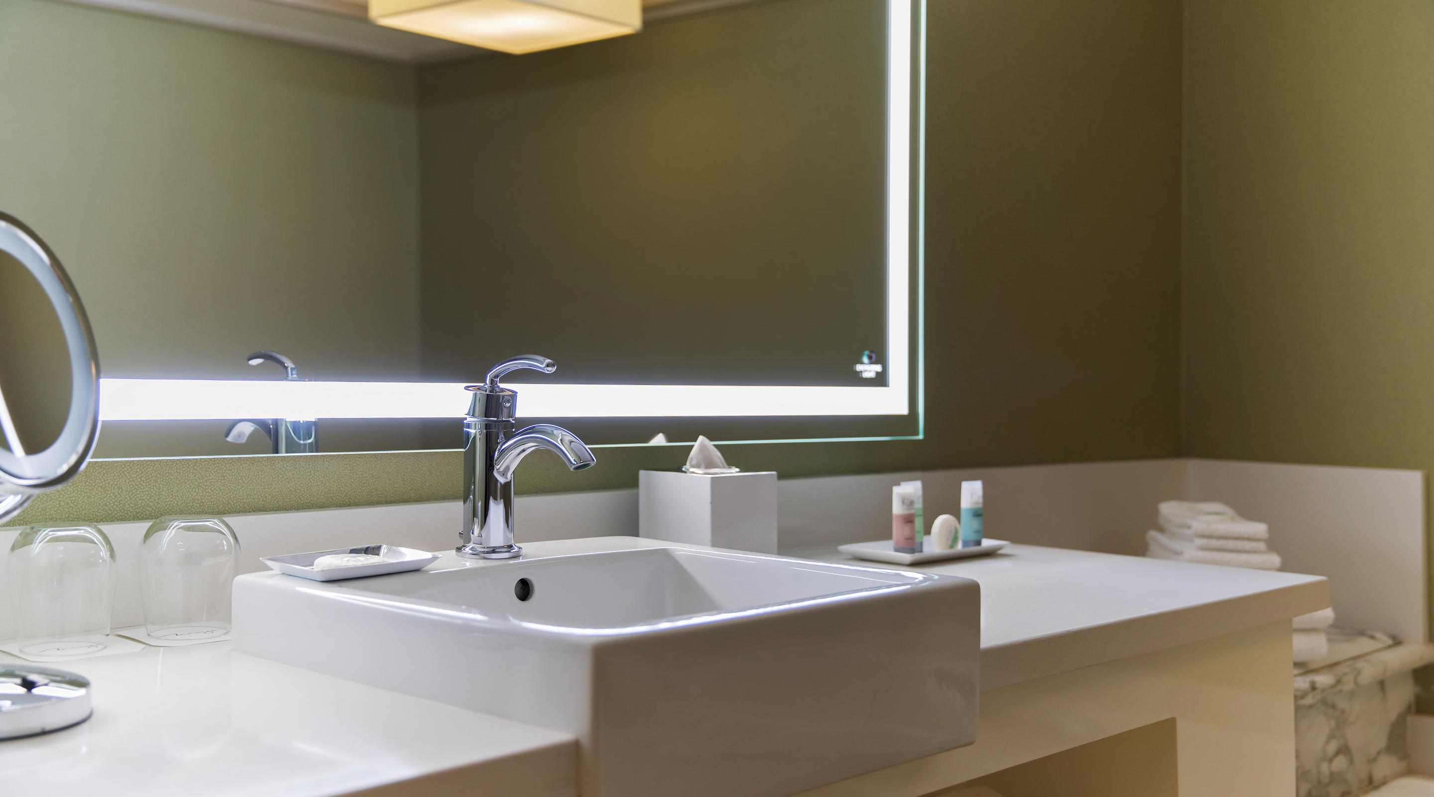 Mirage Stay Well bathroom sink and mirror with energizing light.