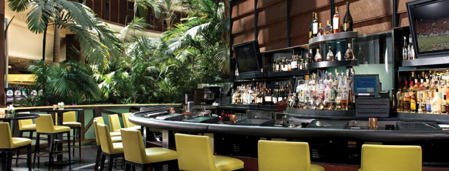 A view of the bar counter inside the Mirage Lobby Bar.