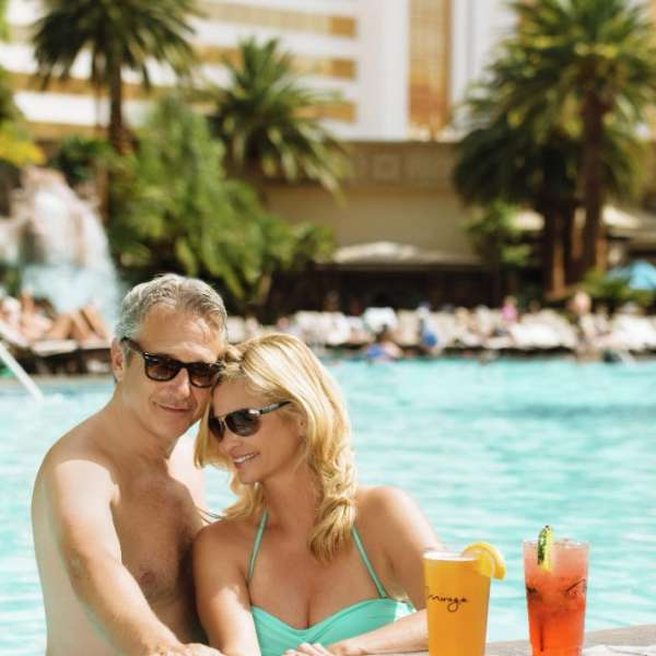 Couple at The Mirage pool