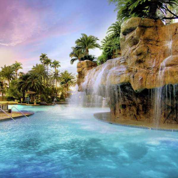 The Mirage pool is 5 acres of tropical paradise made up of waterfalls and lagoons.