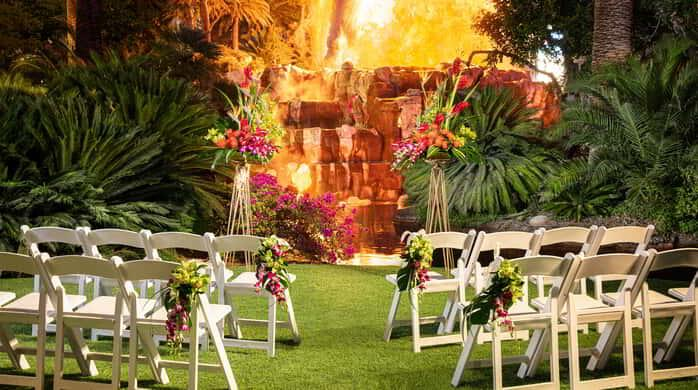 Mirage Weddings the Volcano Venue with Chairs