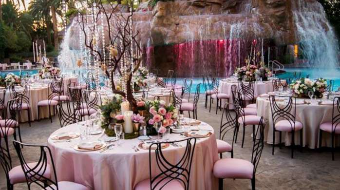 A catered event at The Mirage Pool.