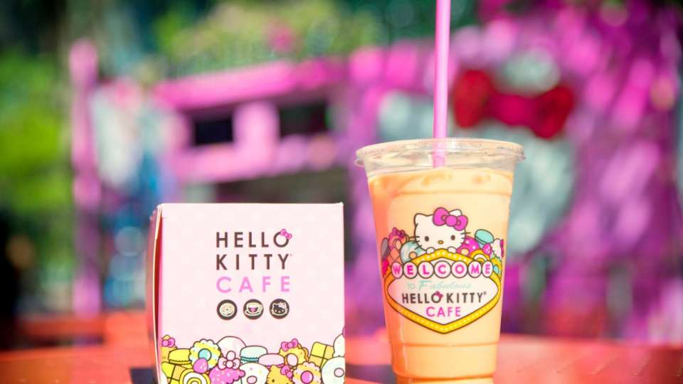 A drink and pastry available at Hello Kitty Cafe.