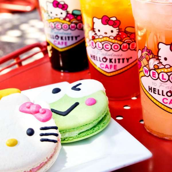 You can purchase macarons with the faces of Hello Kitty characters at the new Hello Kitty Cafe.