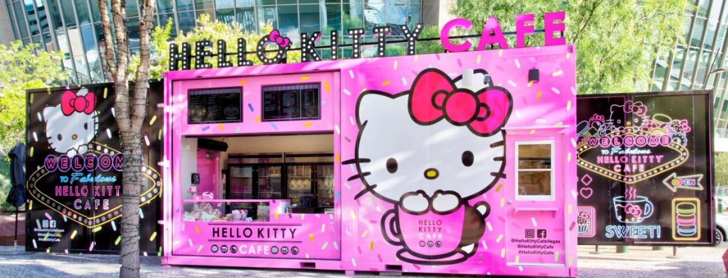 And exterior view of the pink Hello Kitty Cafe at The Park.