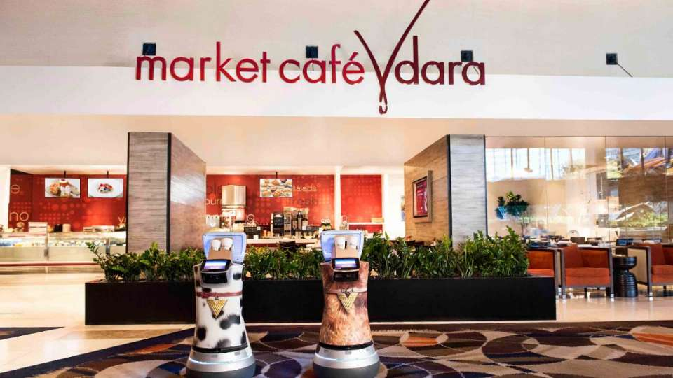 Vdara delivery robots in front of Market Cafe.