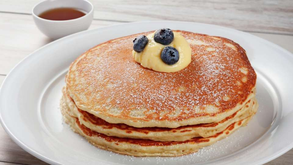 Start your morning with our fluffy Blueberry Pancakes.