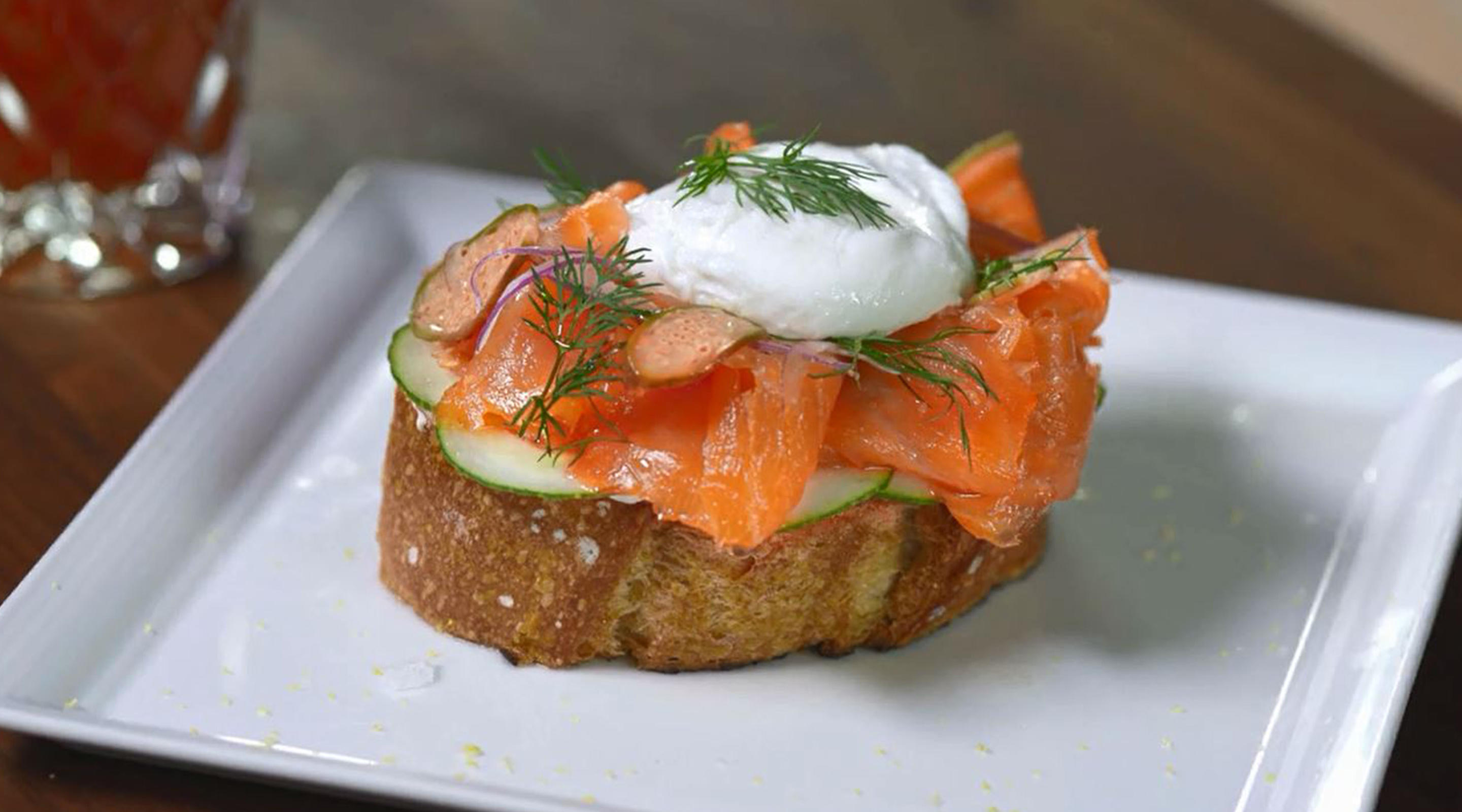 Executive Chef Nathan Frost of Market Café creates a Smoked Salmon Toastie.