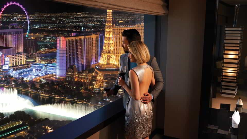 Vdara Lifestyle Couple Looking at Fountain View