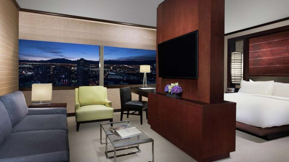 Vdara's Studio Parlor suite is 582 square feet of comfort, including a separate living room area with a divider that provides added privacy from the bedroom.