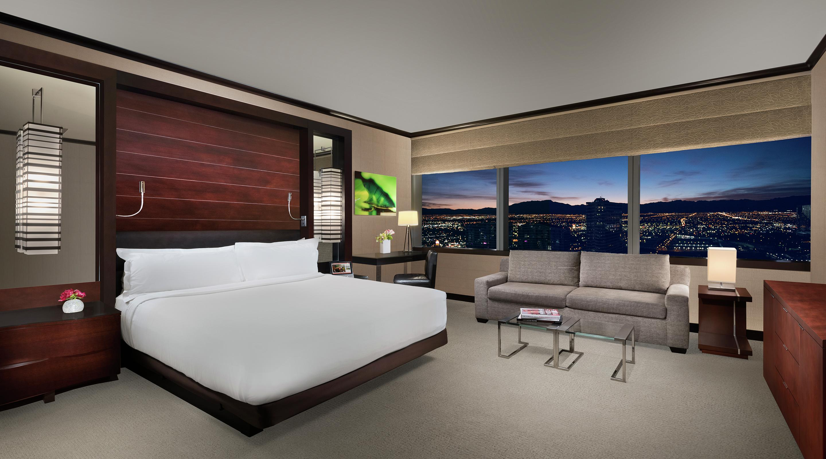 "Vdara's base suite is anything but ordinary. With 582 square feet of luxury including a kitchenette, you have never experienced a ""room"" like this before in Las Vegas."