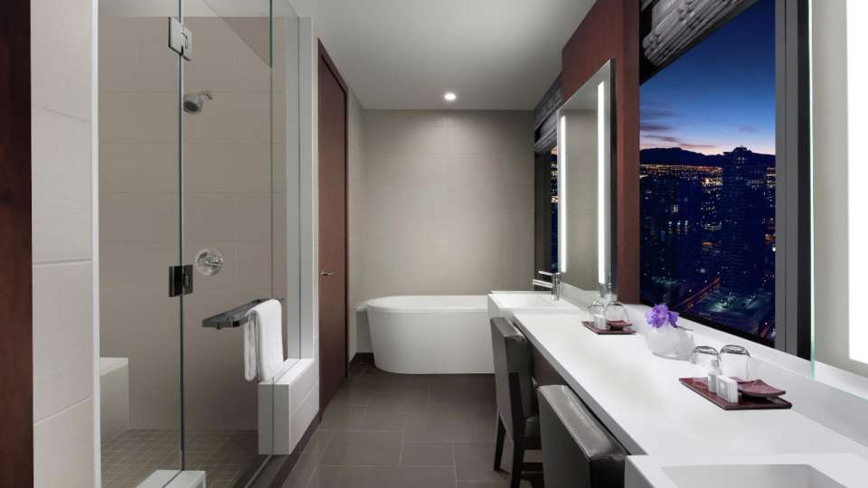 From the walk in shower and spa-style soaking tub to dual backlit vanities, luxurious amenities can be found in every area of our Two Bedroom Loft.