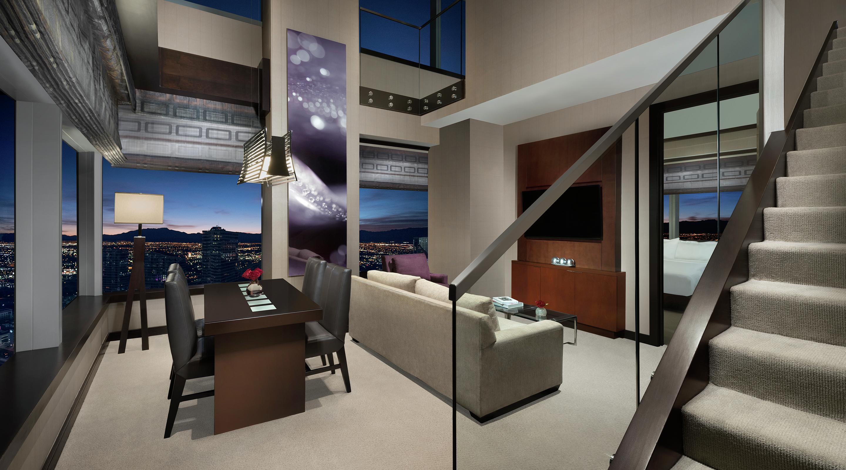 Two levels of panoramic windows offer stunning views of Las Vegas.