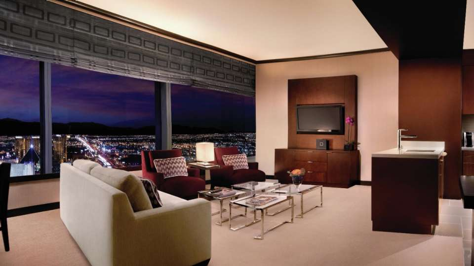 Elevated in both height and sophistication, our 885 square foot One Bedroom Penthouse Suite offers a sanctuary in the middle of the Las Vegas Strip.