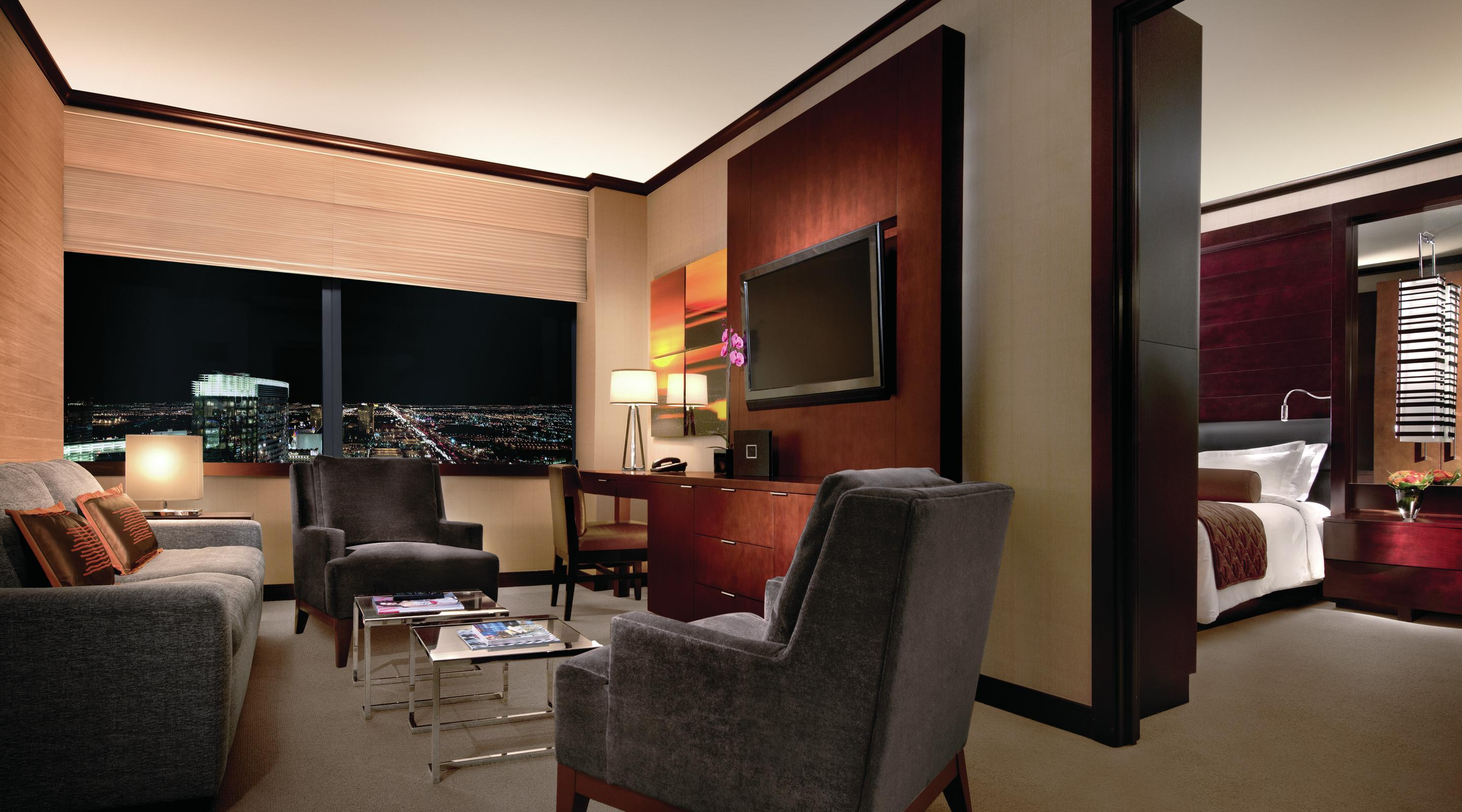 The Vdara Suites offers 811 square feet of space that are divided between the bedroom, spa-like bathroom, living room and kitchen complete with full-size fridge and cook top.
