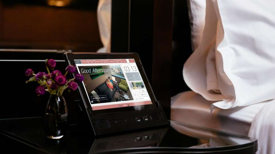 A tablet on a nightstand at Vdara,