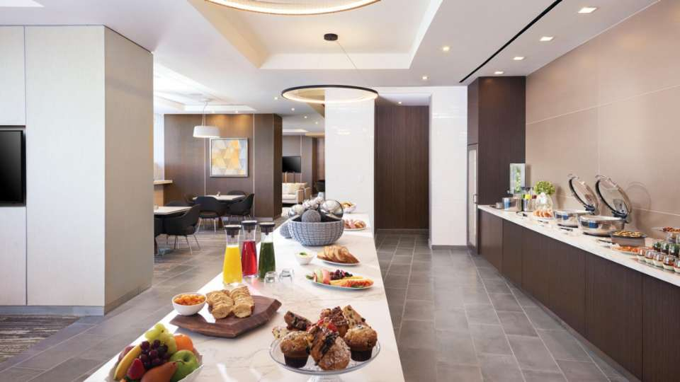Dining area of the Vdara Club Lounge, where food and beverages are served throughout the day.