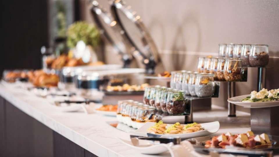 Food and beverages served daily in the dining area of the Vdara Club Lounge.