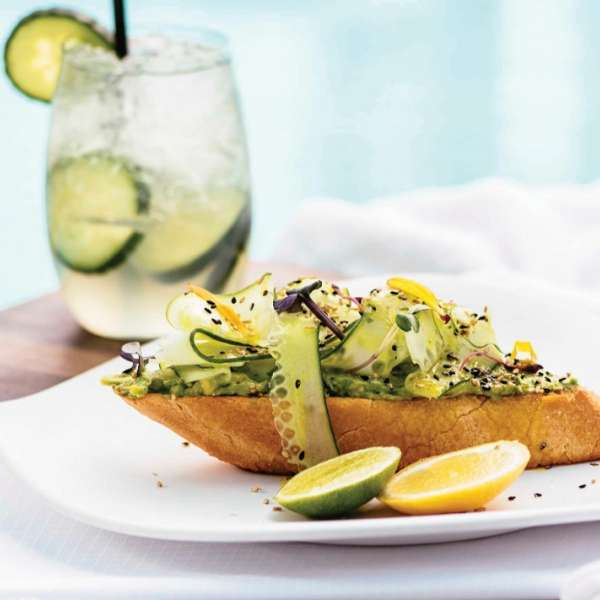 Vdara Pool & Cabanas Avocado Spa Toast with Cucumber Cooler Cocktail.