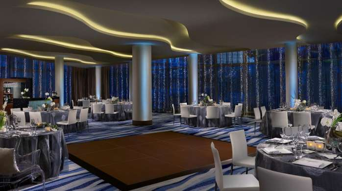 A sophisticated and sleek wedding reception in Vdara's Silk Road.